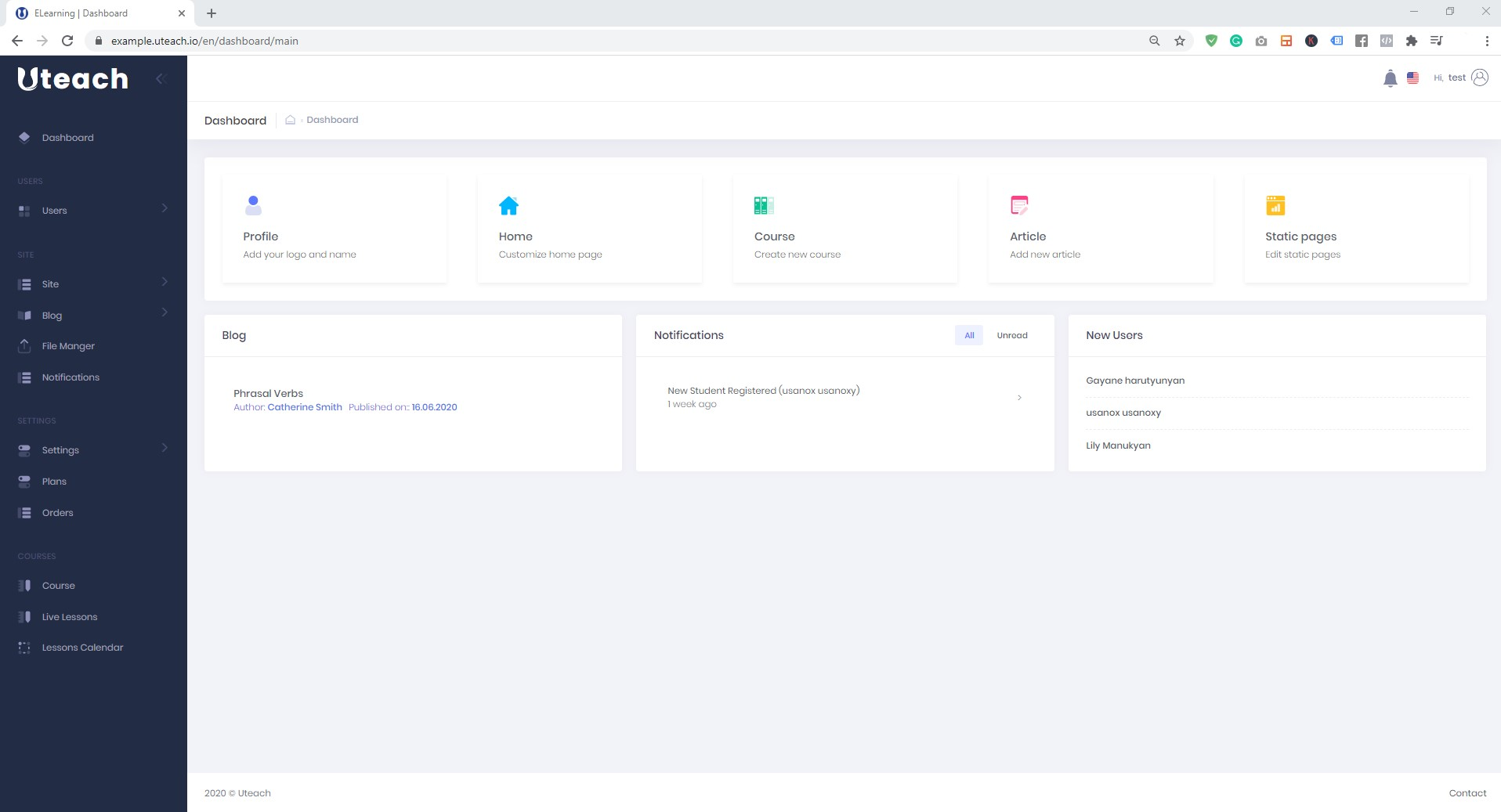 Uteach- Get familiar with the dashboard